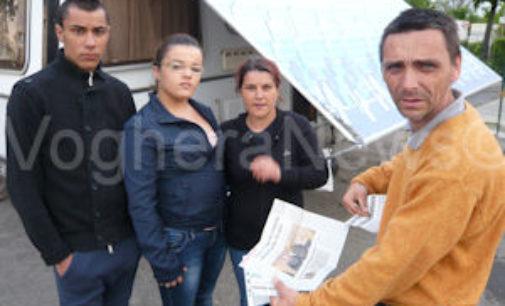 VOGHERA 30/04/2015: Sgomberata la roulotte della famiglia Conti