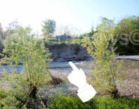 VOGHERA 22/04/2015: Cisterna rinvenuta sullo Staffora. Il grosso involucro in ferro giace a poche centinaia di metri dal ponte Rosso
