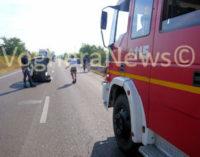 MONTEBELLO VOGHERA 04/08/2015: Auto si ribalta e resta in mezzo alla carreggiata (FOTO&VIDEO). Paura stamattina sulla tangenziale