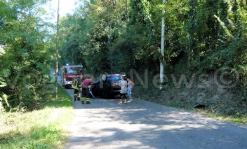 GODIASCO 31/08/2015: Auto esce di strada e si ribalta. Ferito un 56enne