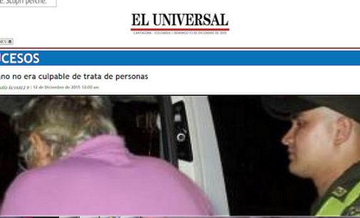SALICE TERME 13/12/2015: Innocente. Il Tribunale colombiano ha ammesso l'errore giudiziario commesso con Giorgio Brichetti