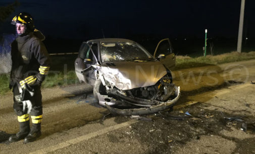 VOGHERA 25/02/2016: Frontale sulla strada per Oriolo. Si cerca ancora un uomo coinvolto nel sinistro ma che si è allontanato
