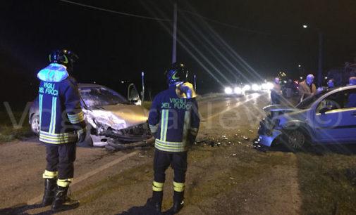 VOGHERA 24/02/2016: Frontale sulla strada per Oriolo. Ferite anche due bambine. Uno degli occupanti delle due auto non si trova