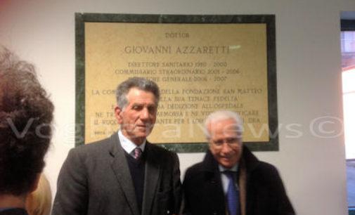 PAVIA 17/03/2016: Posata al Dea del Policlinico la targa in ricordo di Giovanni Azzaretti. Guzzetti : Ebbe un grande ruolo nella beneficienza
