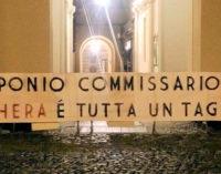 """VOGHERA 21/04/2016: Troppi tagli. Nuovo striscione di CasaPound… contro il Commissario. """"Così affossa l'economia locale"""""""