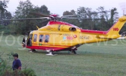PONTE NIZZA 01/08/2019: Trattore si ribalta. Un 54enne portato al San Matteo in elicottero