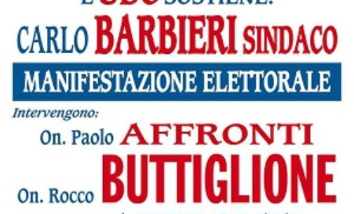 VOGHERA 24/01/2017: Ballottaggio. Per Barbieri l'Udc porta in città Buttiglione