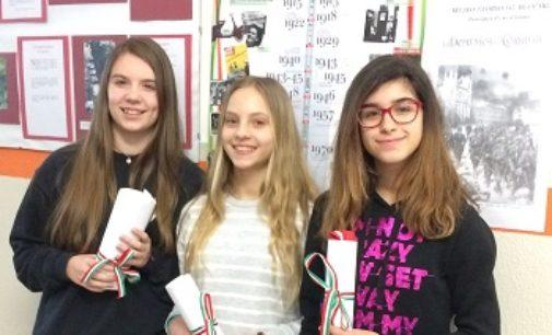 VOGHERA 23/03/2018: Tre alunne della Pascoli premiate in Prefettura a Pavia