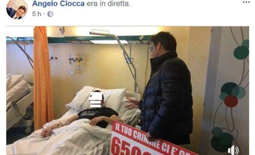 """PAVIA CASTEGGIO 09/04/2018: Sparo a ladro. L'europarlamentare della Lega Ciocca ha fatto visita in ospedale all'albanese ferito. """"Non doveva violare una casa privata. Chieda scusa"""""""