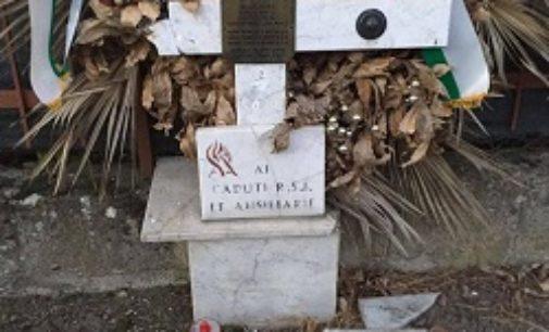 """BAGNARIA 12/01/2019: Distrutta la stele dei caduti della Rsi. Recordari: """"La solita vergogna antifascista"""""""