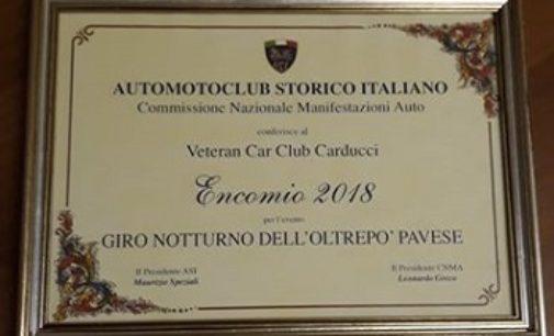 CASTEGGIO 14/02/2019: Premio nazionale al Veteran Car Club Carducci per il Giro Notturno dell'Oltrepo