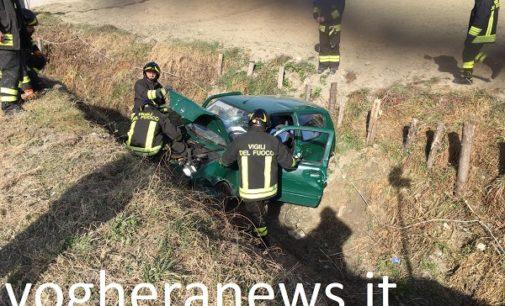 VAL DI NIZZA 28/02/2019: Incidente sulla Sp7. Auto esce di strada e si accartoccia in un fossato. Ferito un 57enne