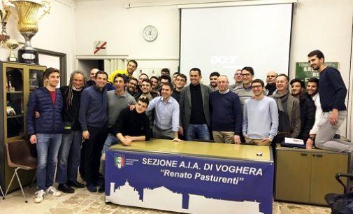 VOGHERA 08/03/2019: Calcio. Gli Arbitri vogheresi incontrano l'Internazionale Marco Di Bello
