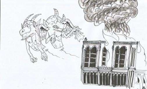 VOGHERA 17/04/2019: Incendio a Notre-Dame de Paris. La vignetta di un Lettore
