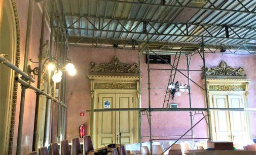VOGHERA 20/02/2020: Palazzo Gounela. Partito il restauro della volta della sala consiliare