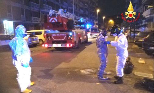 SANNAZZARO 12/03/2020: Misure anti virus per i vigili del fuoco durante un soccorso