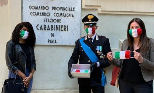 PAVIA 05/06/2020: Mascherine tricolori in dono all'Arma pavese per il 206° annuale della fondazione dei Carabinieri