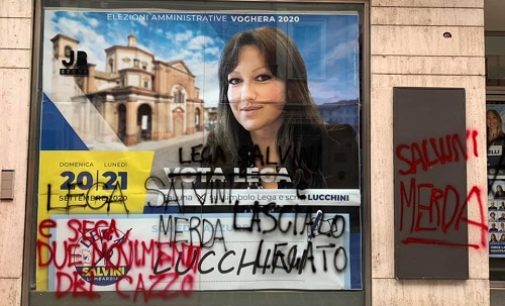 VOGHERA 11/09/2020: Insulti sulla sede elettorale della Lega. Vandalizzata anche l'ex caserma
