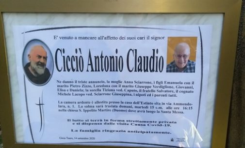 VOGHERA 15/09/2020: Scomparso il fratello Antonio. Lutto per Salvatore Cicciò. Le condoglianze della Redazione