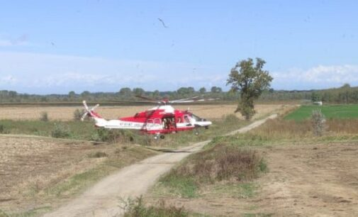 SAN CIPRIANO 04/10/2020: Intrappolati sull'isolotto del Po. Due persone recuperate dai vigili del fuoco