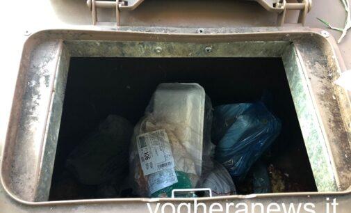 VOGHERA 31/01/2021: Rifiuti indifferenziati e plastica dentro ai cassonetti per il rifiuto organico. Pochi quelli che usano i sacchetti biodegradabili