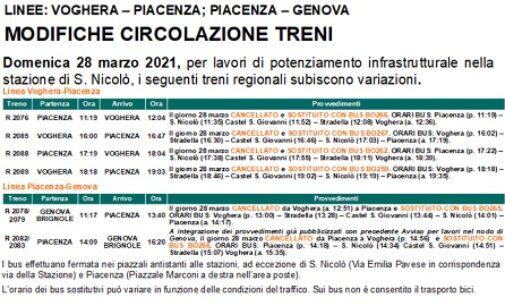 VOGHERA 26/03/2021: Treni. Causa lavori domenica soppressione di treni per Piacenza
