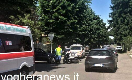 RIVANAZZANO 19/05/2021: Scontro auto-moto in via Colombo. Ferito un 56enne