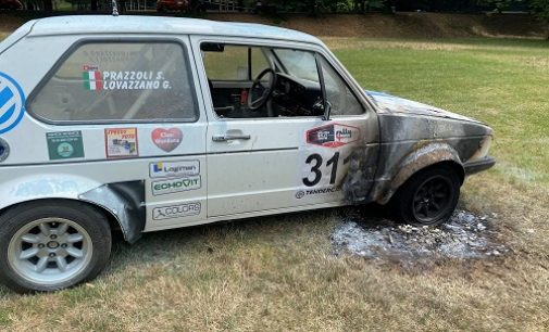 SALICE TERME 03/07/2021: Rally 4 Regioni. Auto in fiamme durante la notte. Si indaga sulle cause